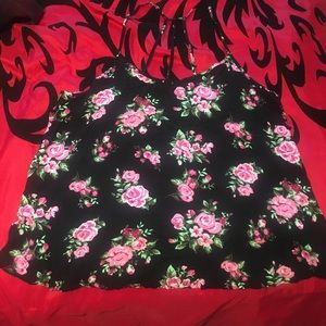 Black and pink floral tank